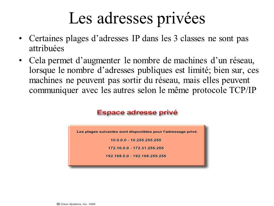 Les adresses privées Certaines plages dadresses IP dans les 3 classes ne sont pas attribuées Cela permet daugmenter le nombre de machines dun réseau,