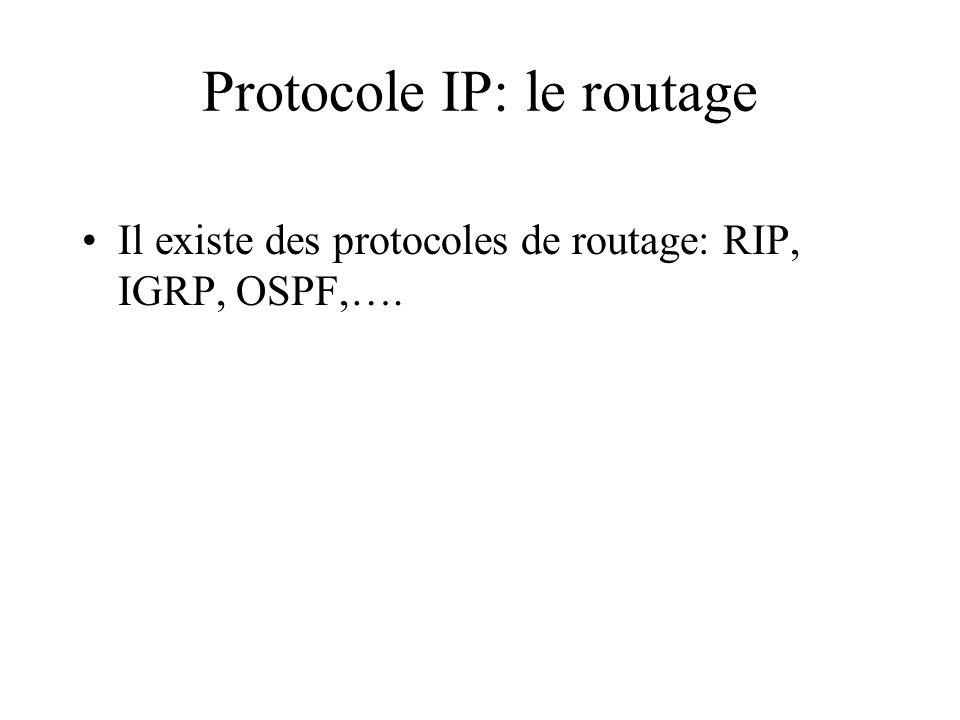 Protocole IP: le routage Il existe des protocoles de routage: RIP, IGRP, OSPF,….