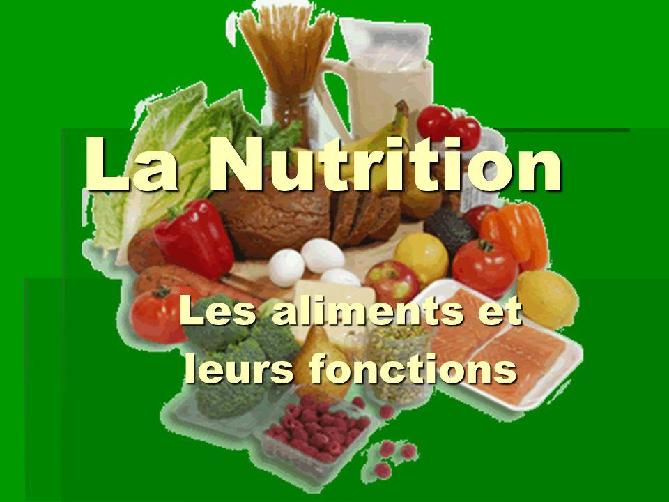 La Nutrition La Nutrition Les aliments et Les aliments et leurs fonctions leurs fonctions