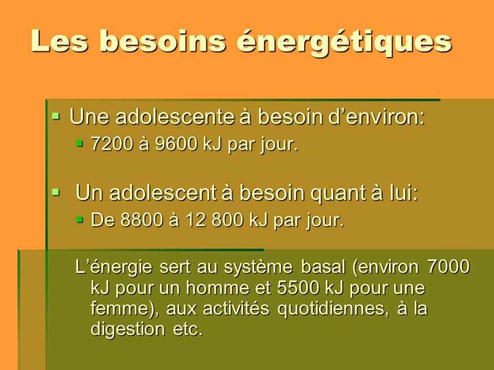 Les besoins énergétiques Une adolescente à besoin denviron: Une adolescente à besoin denviron: 7200 à 9600 kJ par jour. 7200 à 9600 kJ par jour. Un ad