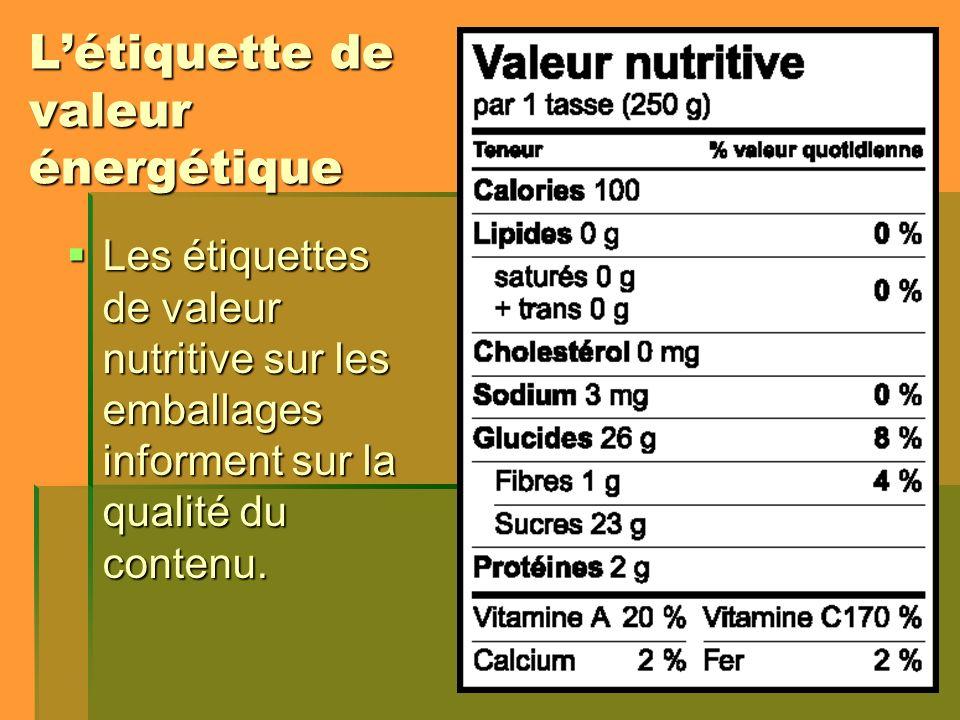 Létiquette de valeur énergétique Les étiquettes de valeur nutritive sur les emballages informent sur la qualité du contenu. Les étiquettes de valeur n