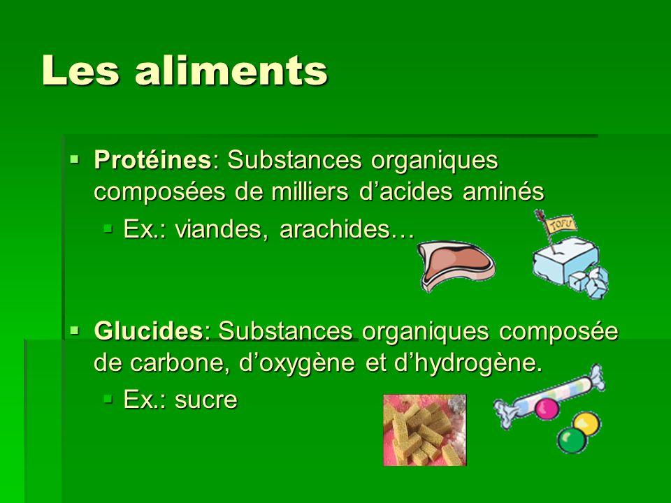 Les aliments Protéines: Substances organiques composées de milliers dacides aminés Protéines: Substances organiques composées de milliers dacides amin