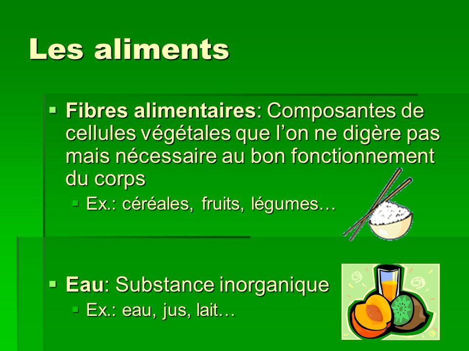 Les aliments Fibres alimentaires: Composantes de cellules végétales que lon ne digère pas mais nécessaire au bon fonctionnement du corps Fibres alimen