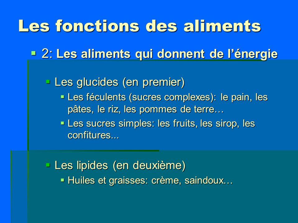 Les fonctions des aliments 2: Les aliments qui donnent de lénergie 2: Les aliments qui donnent de lénergie Les glucides (en premier) Les glucides (en