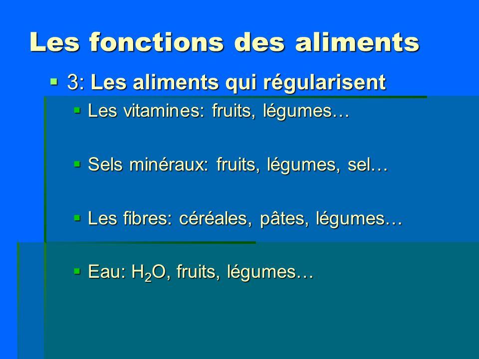 Les fonctions des aliments 3: Les aliments qui régularisent 3: Les aliments qui régularisent Les vitamines: fruits, légumes… Les vitamines: fruits, lé