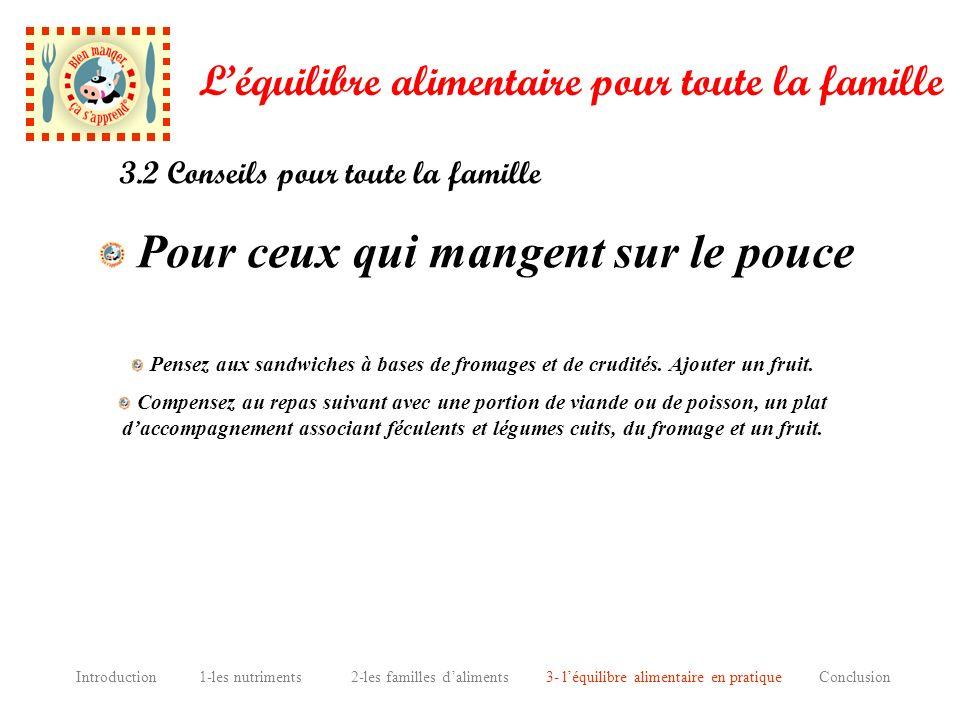 Introduction 1-les nutriments 2-les familles daliments 3- léquilibre alimentaire en pratique Conclusion Léquilibre alimentaire pour toute la famille P