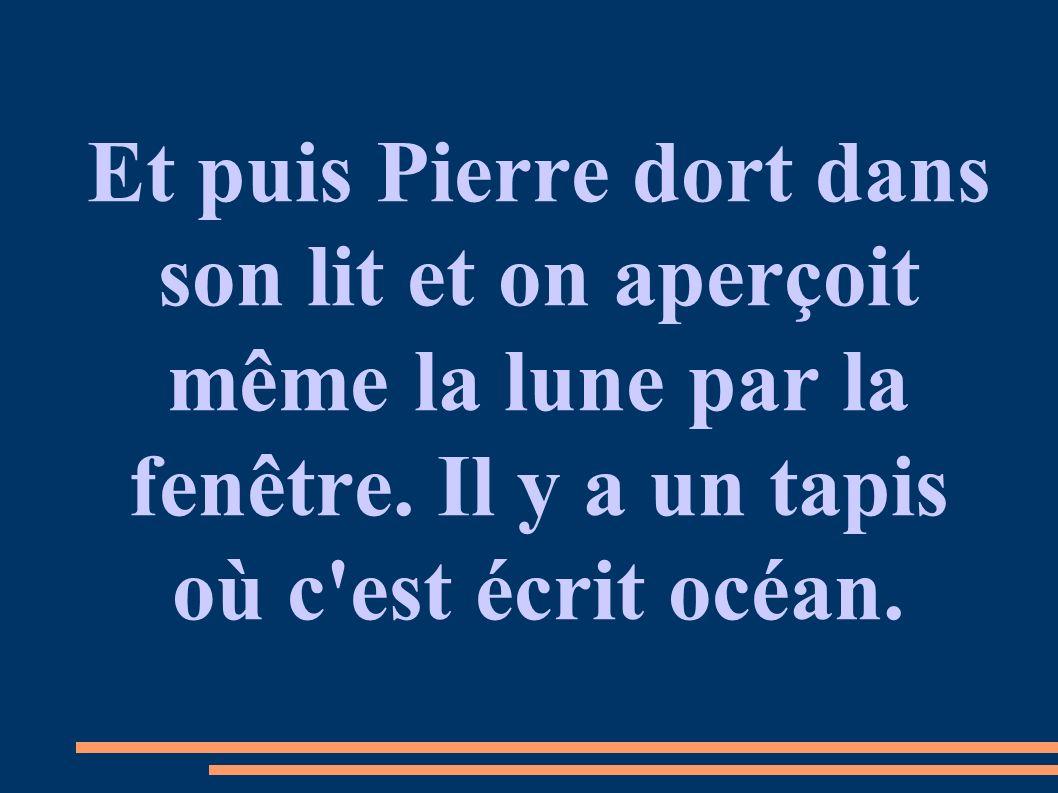 Et puis Pierre dort dans son lit et on aperçoit même la lune par la fenêtre. Il y a un tapis où c'est écrit océan.
