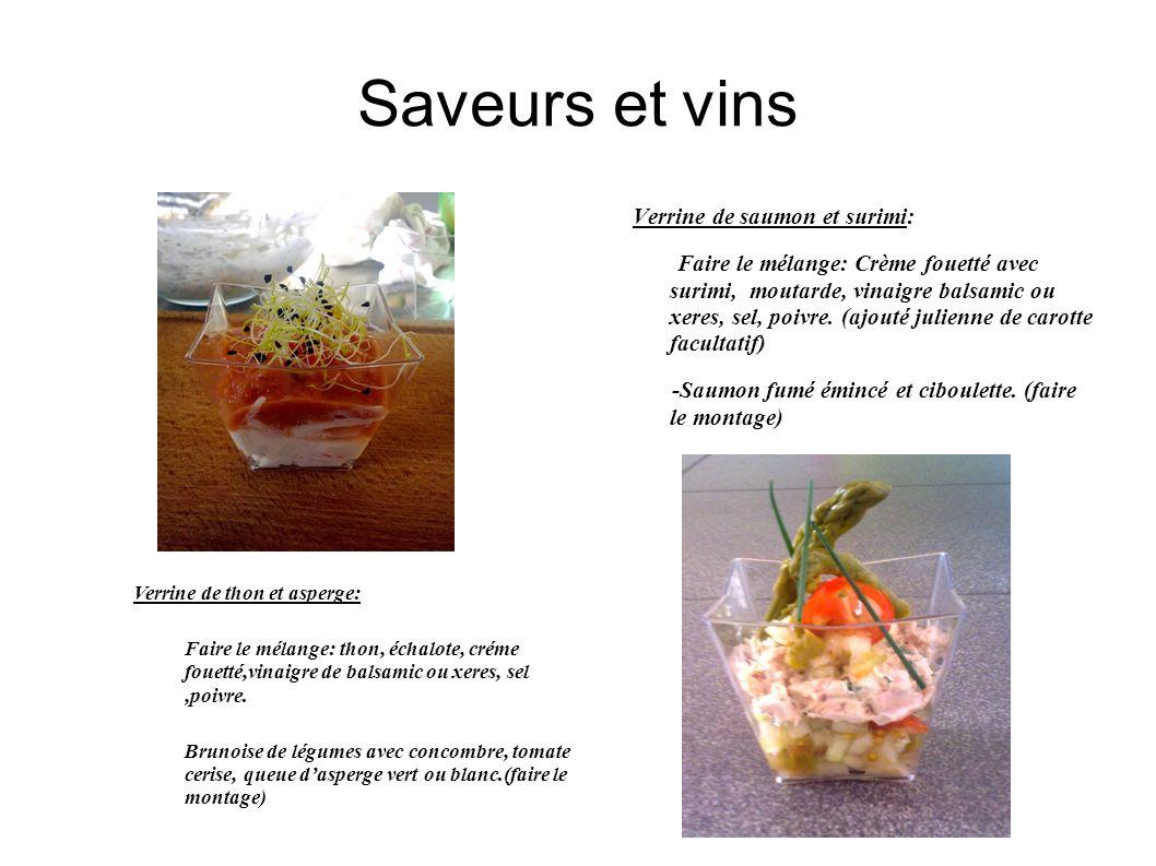 Saveurs et vins Cocktail dinatoir: Cake au chorizo: -Farine:150gr-oeufs:4 pc-chorizo: 250 gr -crème15 cl-conté150 gr -huile dolive: 8 cl -levure: 1 sachet-sel, poivre Gaspacho: émincer: poivron, concombre, tomate.