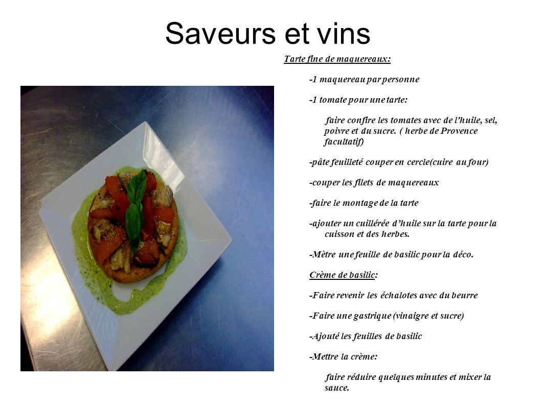 Saveurs et vins Tarte fine de maquereaux: -1 maquereau par personne -1 tomate pour une tarte: faire confire les tomates avec de l huile, sel, poivre et du sucre.