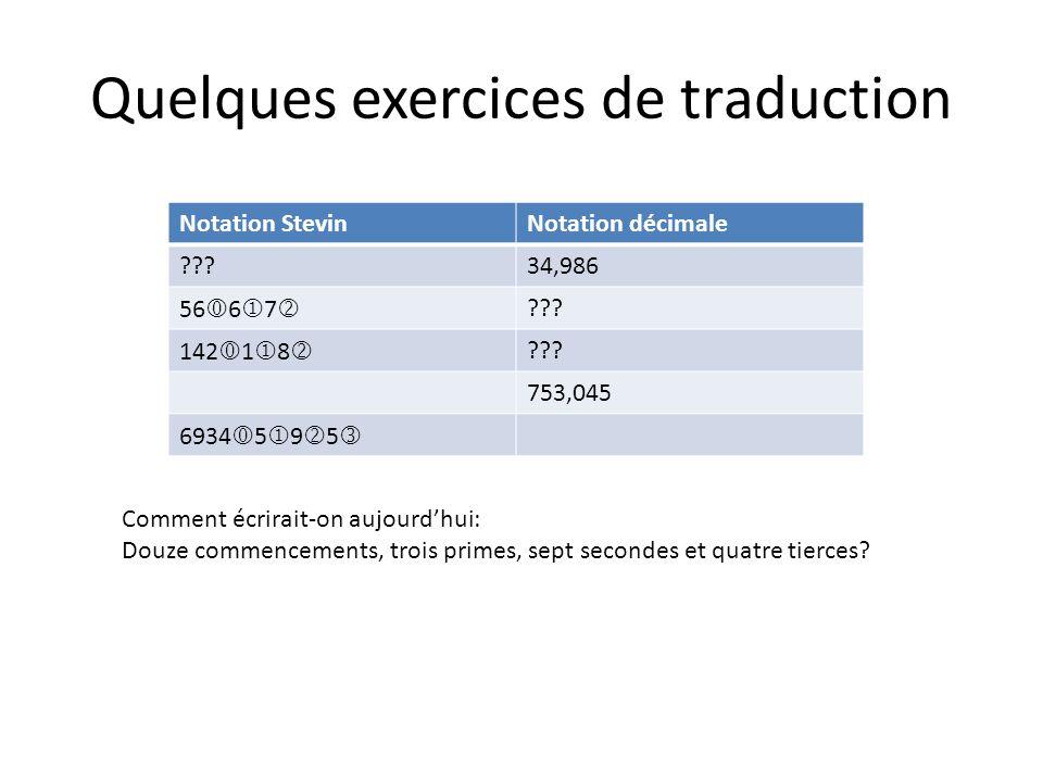 Quelques exercices de traduction Notation StevinNotation décimale ???34,986 56 6 7 ??? 142 1 8 ??? 753,045 6934 5 9 5 Comment écrirait-on aujourdhui: