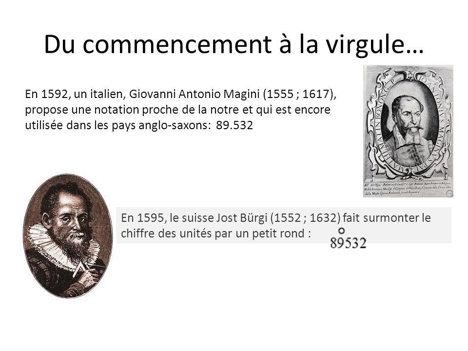 Du commencement à la virgule… En 1592, un italien, Giovanni Antonio Magini (1555 ; 1617), propose une notation proche de la notre et qui est encore ut