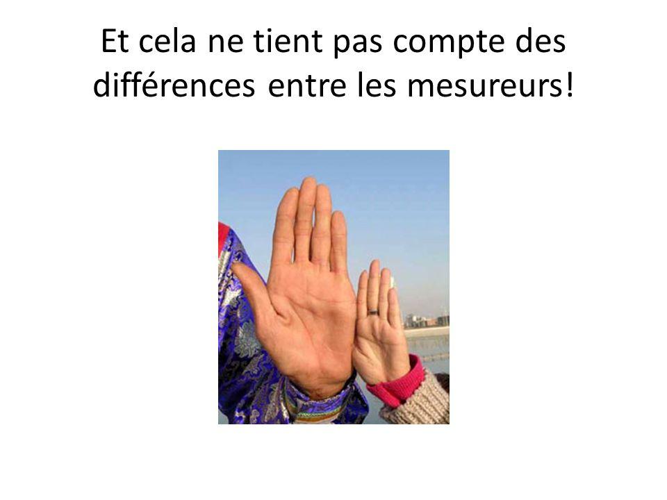 Et cela ne tient pas compte des différences entre les mesureurs!