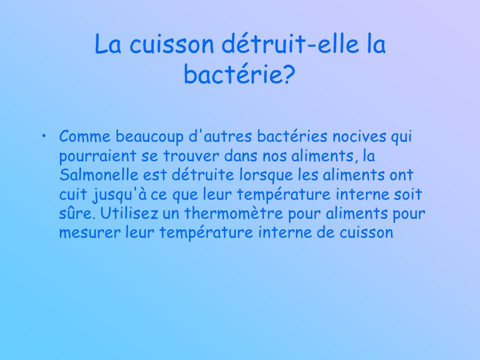 La cuisson détruit-elle la bactérie? Comme beaucoup d'autres bactéries nocives qui pourraient se trouver dans nos aliments, la Salmonelle est détruite