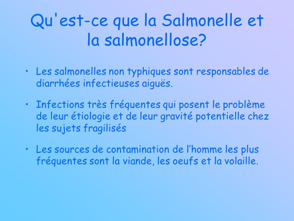 Qu'est-ce que la Salmonelle et la salmonellose? Les salmonelles non typhiques sont responsables de diarrhées infectieuses aiguës. Infections très fréq