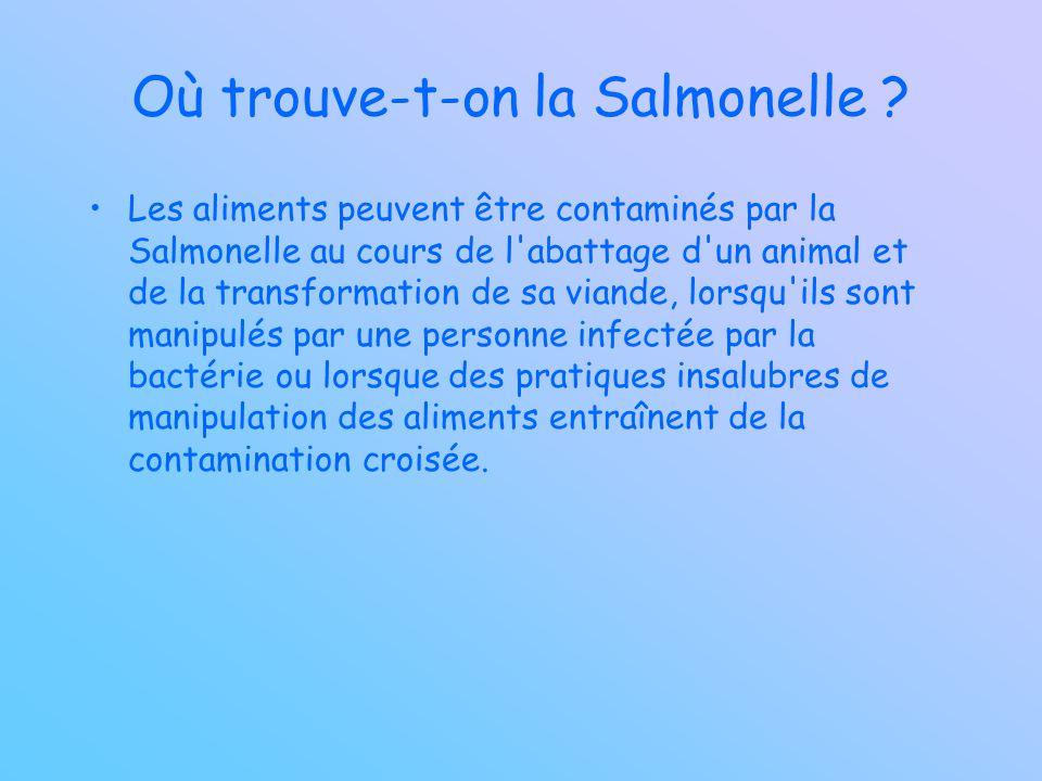 Où trouve-t-on la Salmonelle ? Les aliments peuvent être contaminés par la Salmonelle au cours de l'abattage d'un animal et de la transformation de sa