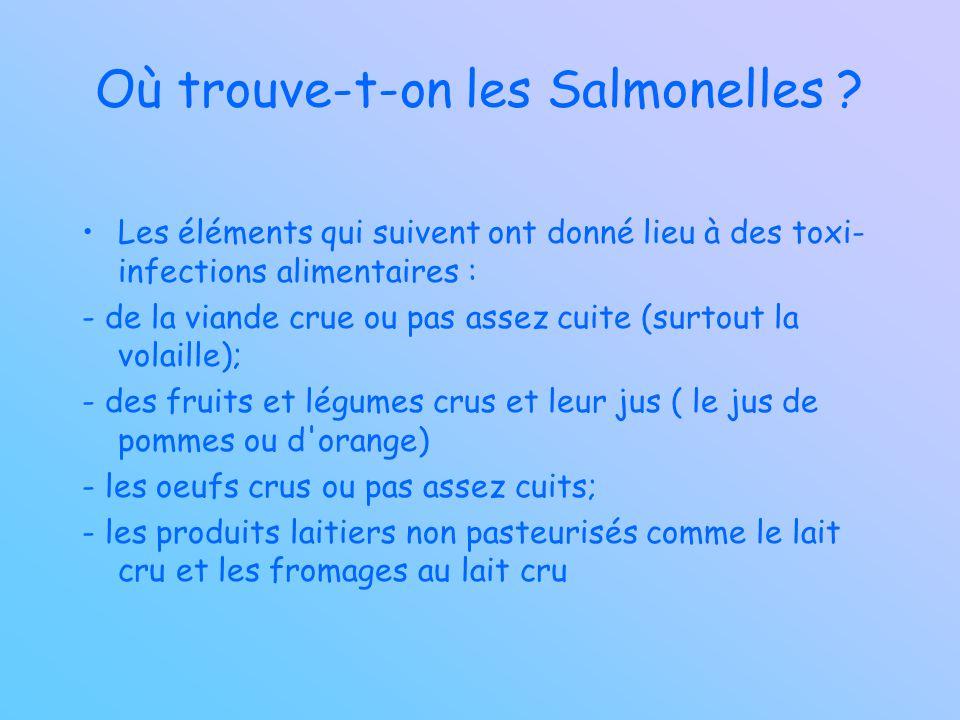 Où trouve-t-on les Salmonelles ? Les éléments qui suivent ont donné lieu à des toxi- infections alimentaires : - de la viande crue ou pas assez cuite
