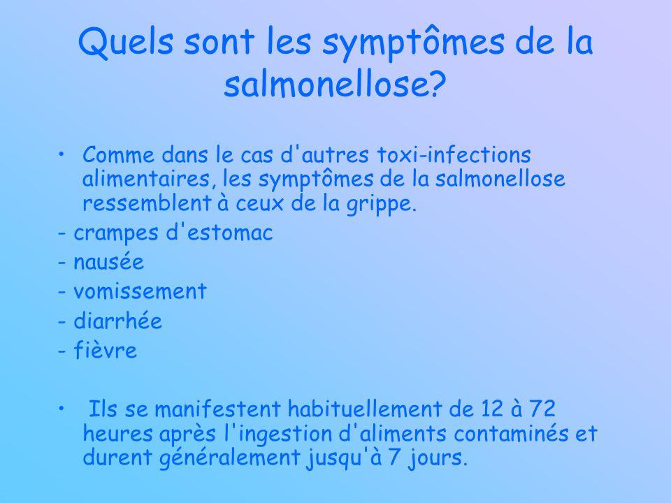 Quels sont les symptômes de la salmonellose? Comme dans le cas d'autres toxi-infections alimentaires, les symptômes de la salmonellose ressemblent à c