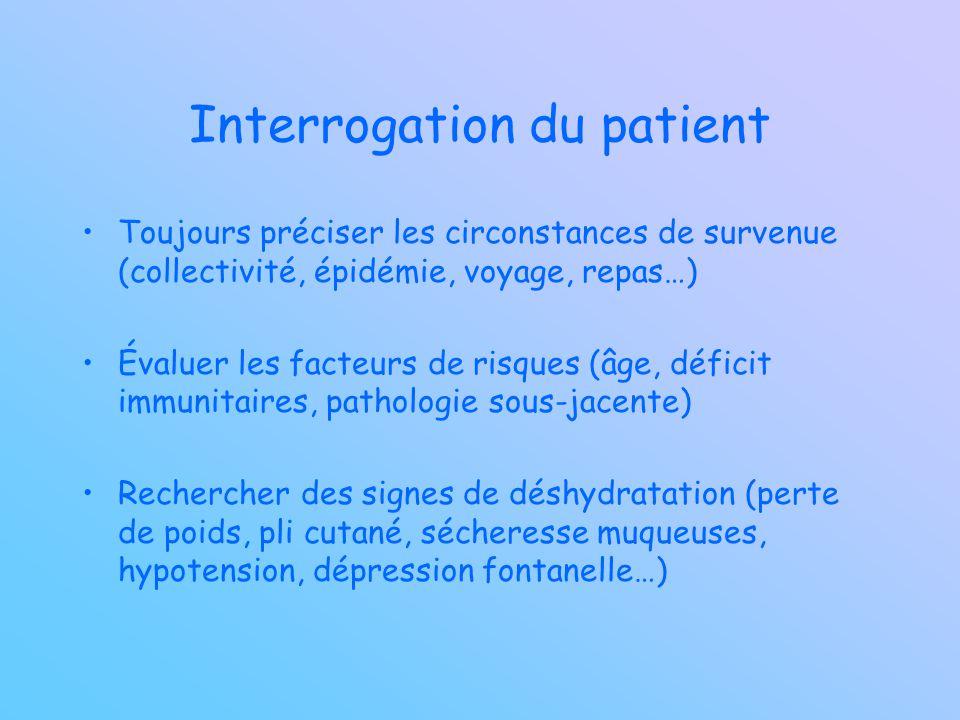 Interrogation du patient Toujours préciser les circonstances de survenue (collectivité, épidémie, voyage, repas…) Évaluer les facteurs de risques (âge