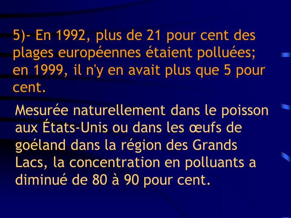 5)- En 1992, plus de 21 pour cent des plages européennes étaient polluées; en 1999, il n'y en avait plus que 5 pour cent. Mesurée naturellement dans l
