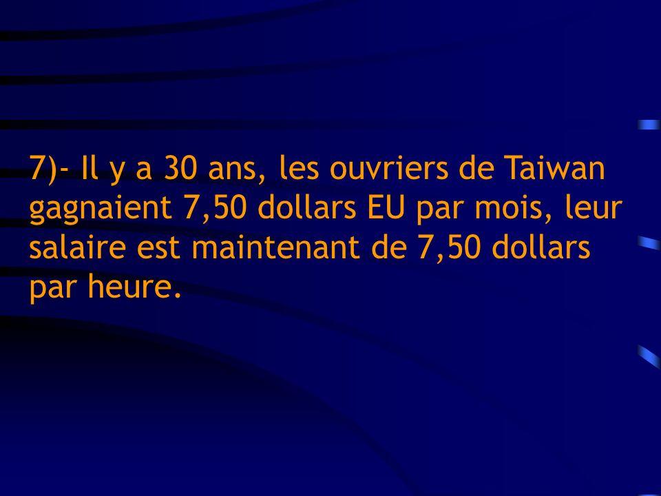7)- Il y a 30 ans, les ouvriers de Taiwan gagnaient 7,50 dollars EU par mois, leur salaire est maintenant de 7,50 dollars par heure.
