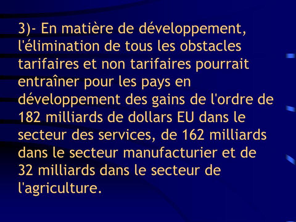 3)- En matière de développement, l'élimination de tous les obstacles tarifaires et non tarifaires pourrait entraîner pour les pays en développement de