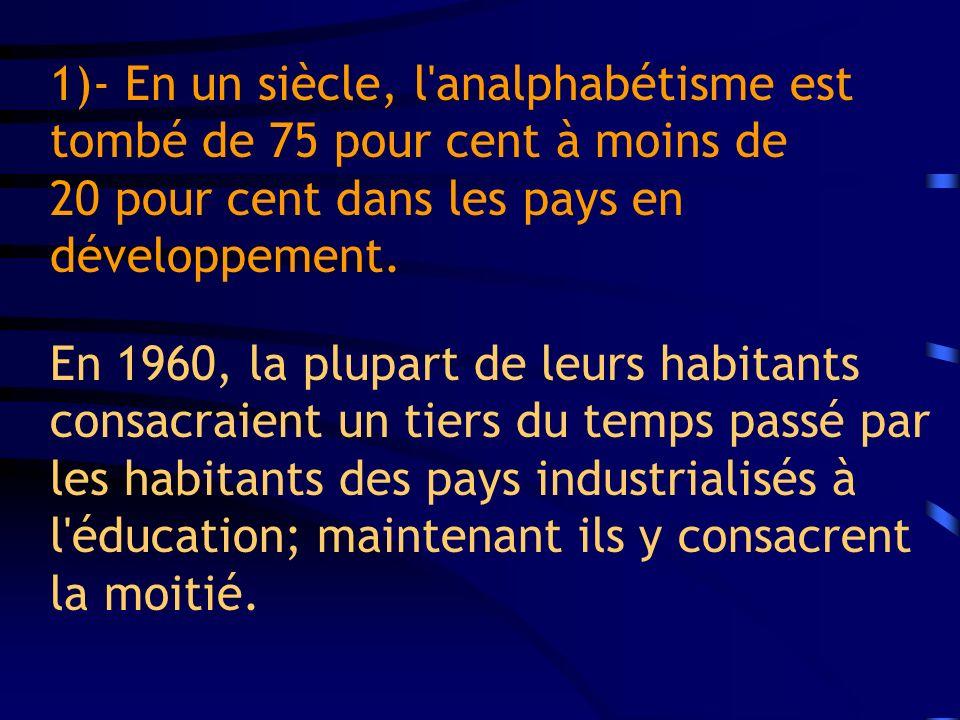 1) - Sur le plan de l économie, la réduction d un tiers des obstacles au commerce dans le secteur agricole, manufacturier et des services, se traduira par une expansion de l économie mondiale de 613 milliards de dollars EU.