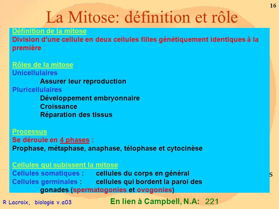 En lien à Campbell, N.A: 16 R Lacroix, biologie v.a03 La Mitose: définition et rôle 221 Lhumain possède 46 chromosomes dans ses cellules du corps (cel