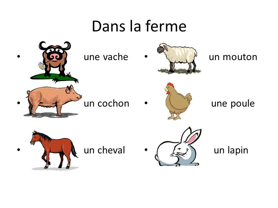 Dans la ferme une vache un cochon un cheval un mouton une poule un lapin