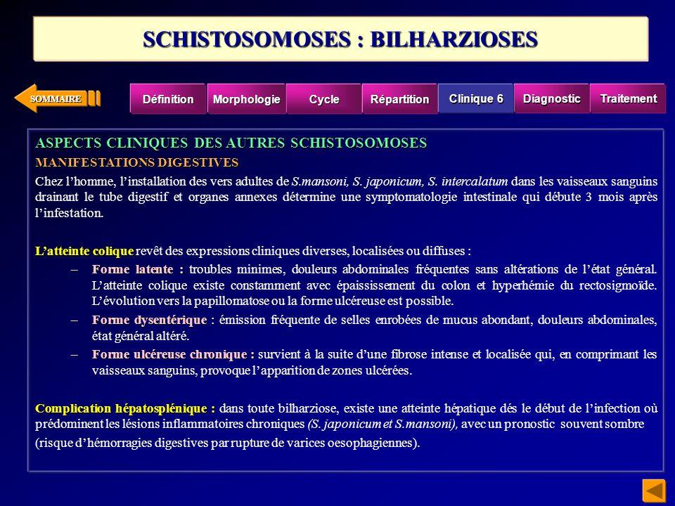 SOMMAIRE ASPECTS CLINIQUES DES AUTRES SCHISTOSOMOSES MANIFESTATIONS DIGESTIVES Chez lhomme, linstallation des vers adultes de S.mansoni, S. japonicum,