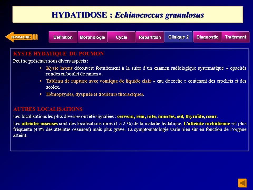 SOMMAIRE TRAITEMENT Thymol, Entobex ®,lEmétine(2 déhydroémétine) Quelques succès ont été invoqués avec le Thymol, Entobex ®, mais en fait seul le traitement par lEmétine (2 déhydroémétine) est efficace, à dose de 1 à 1,5 mg/Kg pendant 10 jours, 2 cures avec un intervalle de 30 jours sous surveillance médicale.