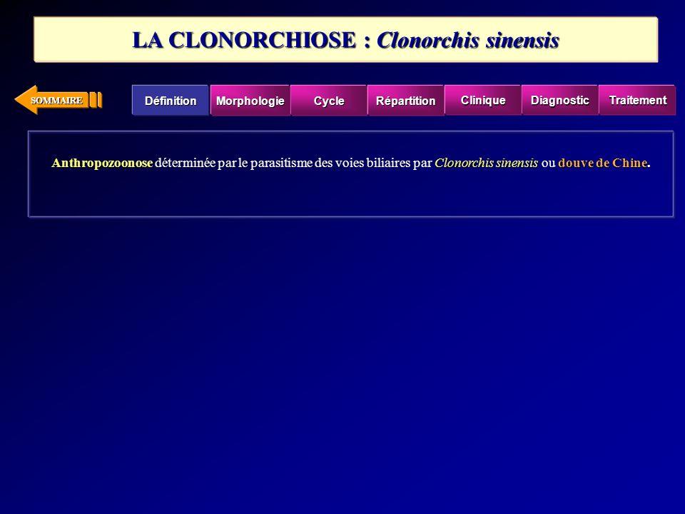 SOMMAIRE Anthropozoonose Clonorchis sinensisdouve de Chine Anthropozoonose déterminée par le parasitisme des voies biliaires par Clonorchis sinensis o