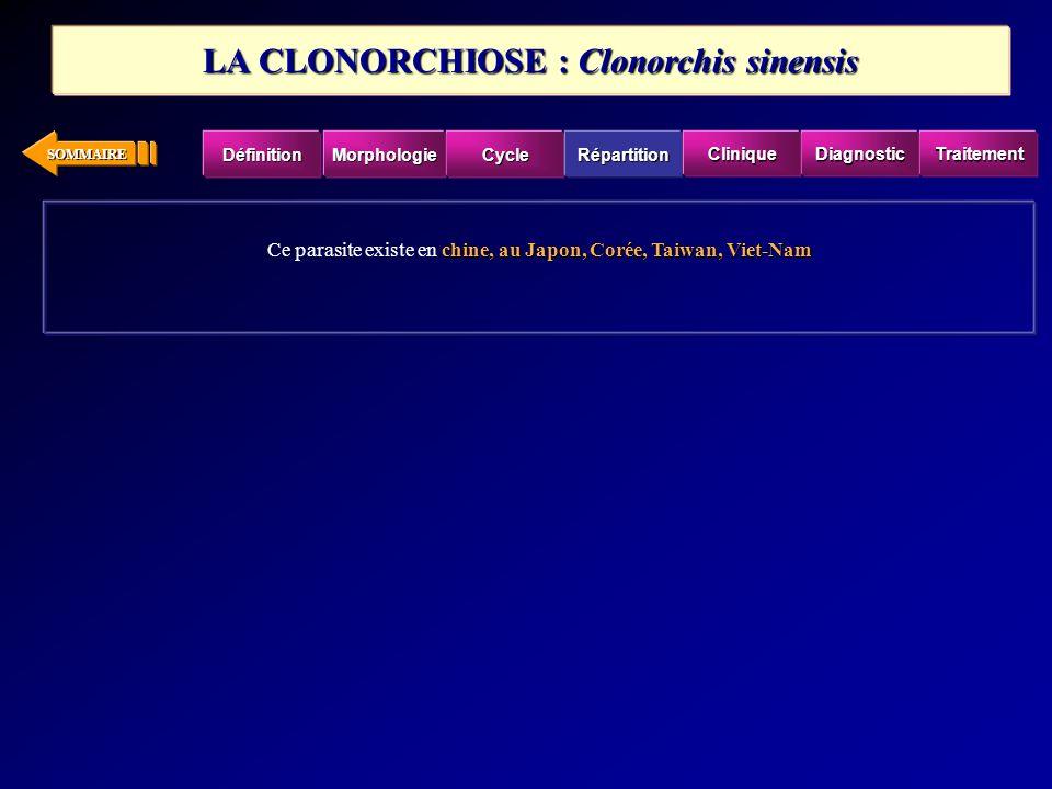 SOMMAIRE chine, au Japon, Corée, Taiwan, Viet-Nam Ce parasite existe en chine, au Japon, Corée, Taiwan, Viet-Nam LA CLONORCHIOSE : Clonorchis sinensis
