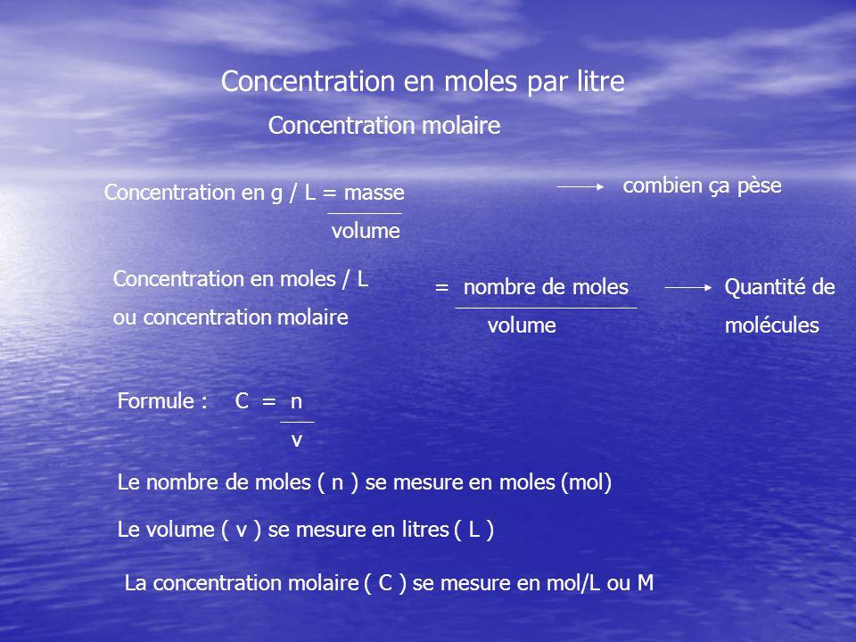 Concentration en moles par litre Concentration molaire Concentration en g / L = masse volume combien ça pèse Concentration en moles / L ou concentrati