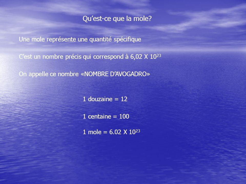 Quest-ce que la mole? Une mole représente une quantité spécifique Cest un nombre précis qui correspond à 6,02 X 10 23 On appelle ce nombre «NOMBRE DAV