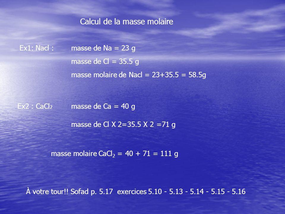 Calcul de la masse molaire Ex1: Nacl : masse de Na = 23 g masse de Cl = 35.5 g masse molaire de Nacl = 23+35.5 = 58.5g Ex2 : CaCl 2 masse de Ca = 40 g