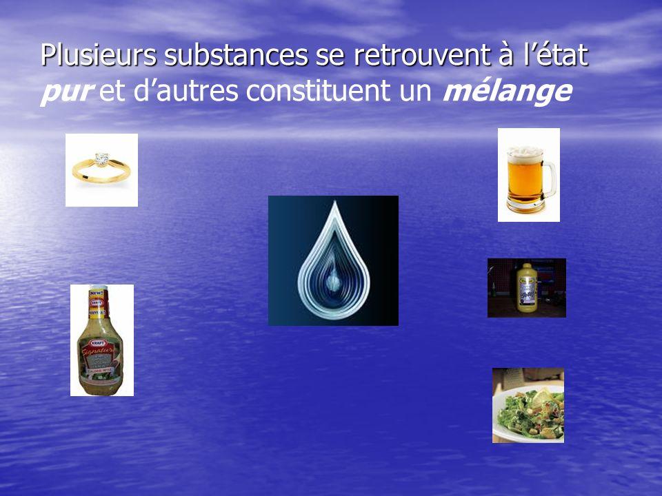 Plusieurs substances se retrouvent à létat Plusieurs substances se retrouvent à létat pur et dautres constituent un mélange