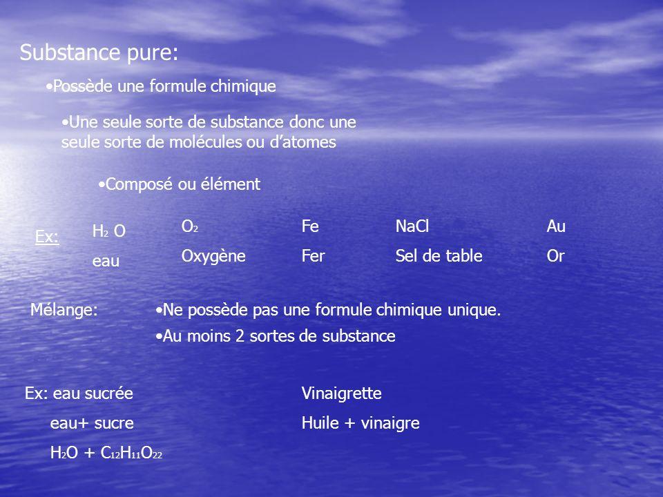 Substance pure: Possède une formule chimique Une seule sorte de substance donc une seule sorte de molécules ou datomes Composé ou élément Ex: H 2 O ea