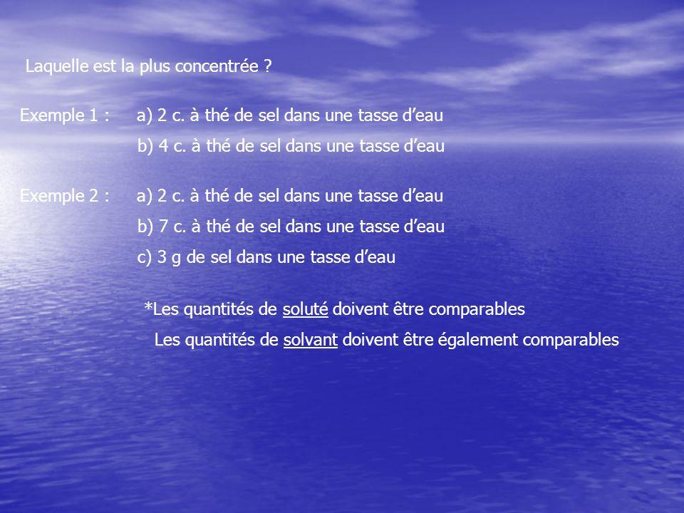Laquelle est la plus concentrée ? Exemple 1 : a) 2 c. à thé de sel dans une tasse deau b) 4 c. à thé de sel dans une tasse deau Exemple 2 : a) 2 c. à
