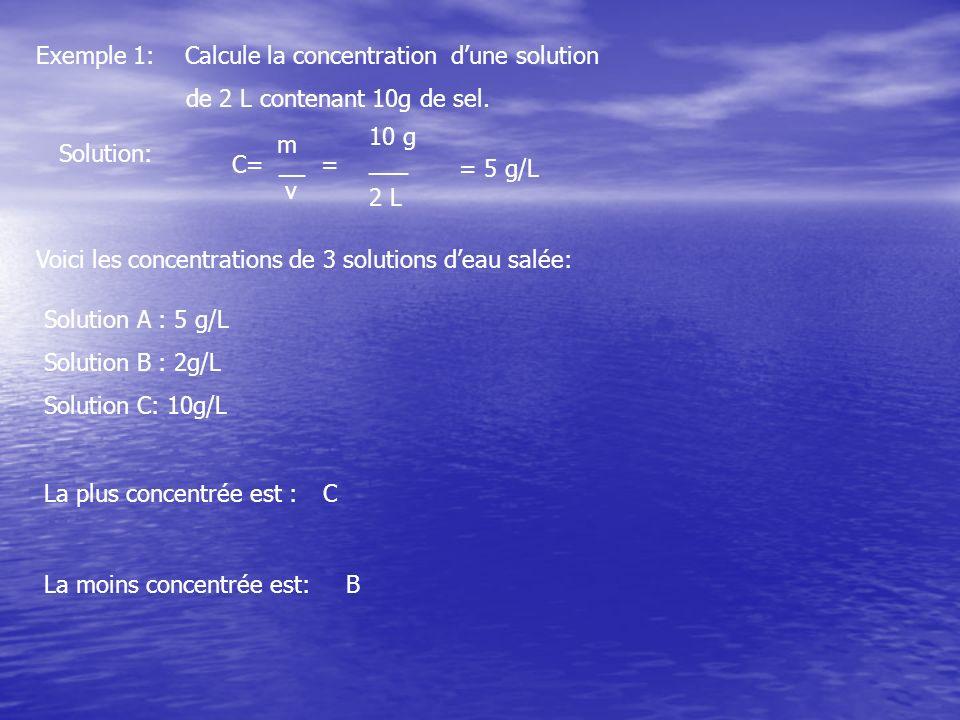 Exemple 1: Calcule la concentration dune solution de 2 L contenant 10g de sel. Solution: m C= __ = v 10 g ___ 2 L = 5 g/L Voici les concentrations de