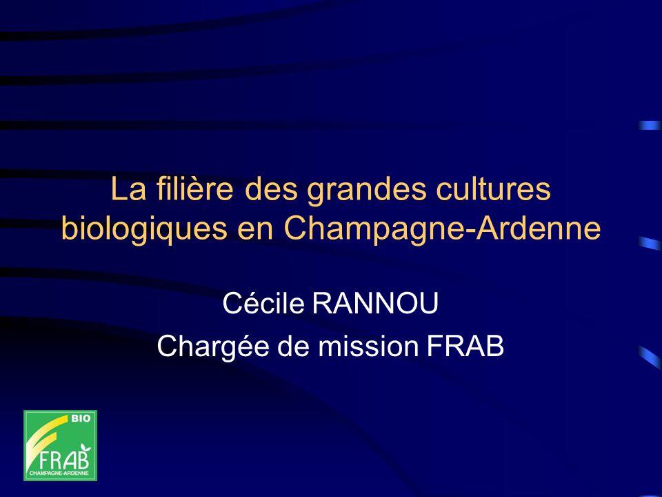 La filière des grandes cultures biologiques en Champagne-Ardenne Cécile RANNOU Chargée de mission FRAB