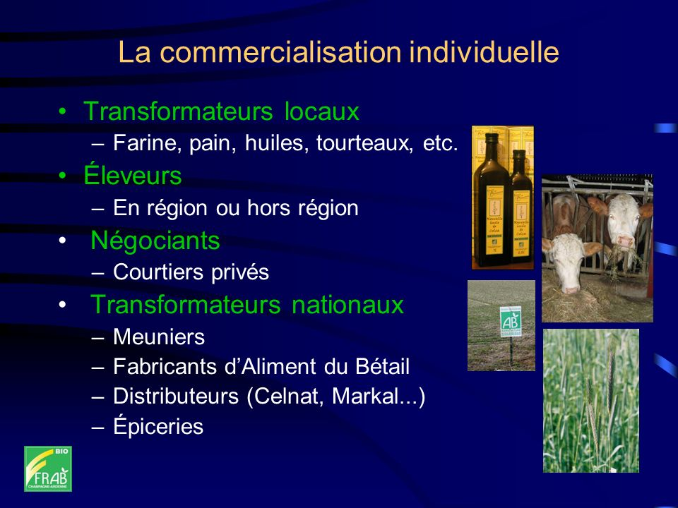 La commercialisation individuelle Transformateurs locaux –Farine, pain, huiles, tourteaux, etc. Éleveurs –En région ou hors région Négociants –Courtie