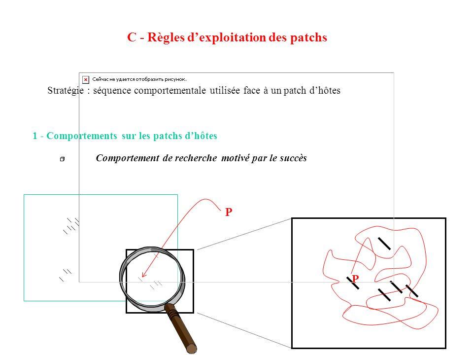 C - Règles dexploitation des patchs 1 - Comportements sur les patchs dhôtes Comportement de recherche motivé par le succès P P Stratégie : séquence co