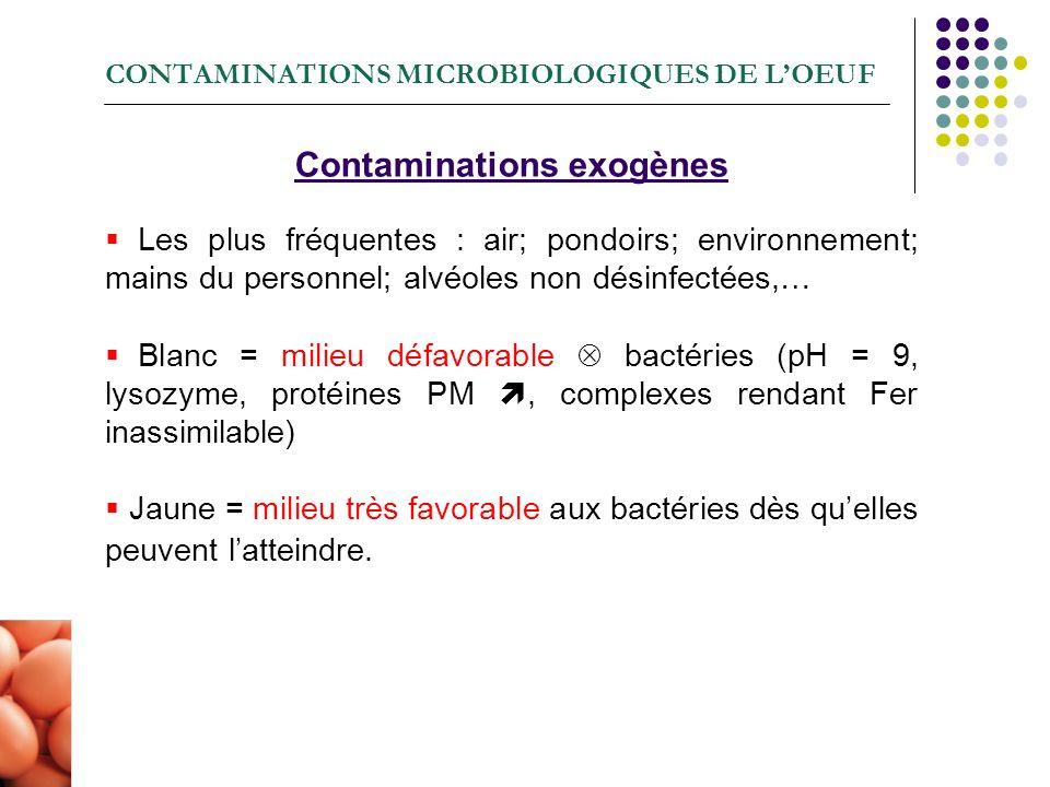 CONTAMINATIONS MICROBIOLOGIQUES DE LOEUF Contaminations exogènes Les plus fréquentes : air; pondoirs; environnement; mains du personnel; alvéoles non