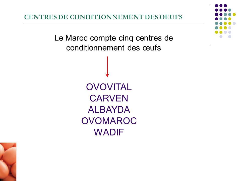 CENTRES DE CONDITIONNEMENT DES OEUFS Le Maroc compte cinq centres de conditionnement des œufs OVOVITAL CARVEN ALBAYDA OVOMAROC WADIF