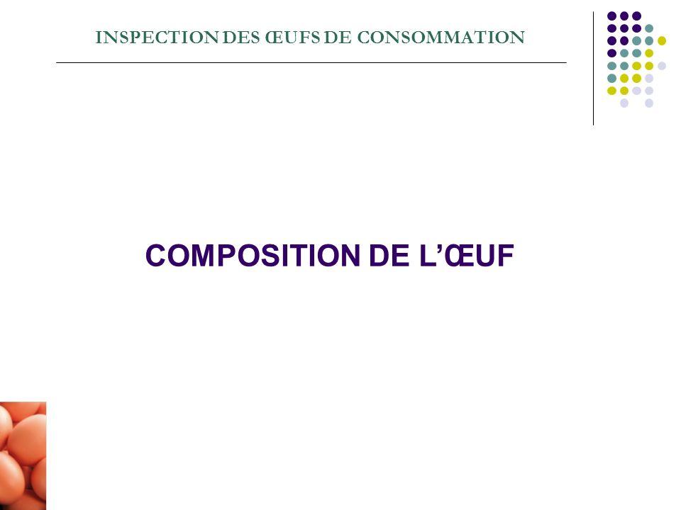 INSPECTION DES ŒUFS DE CONSOMMATION COMPOSITION DE LŒUF
