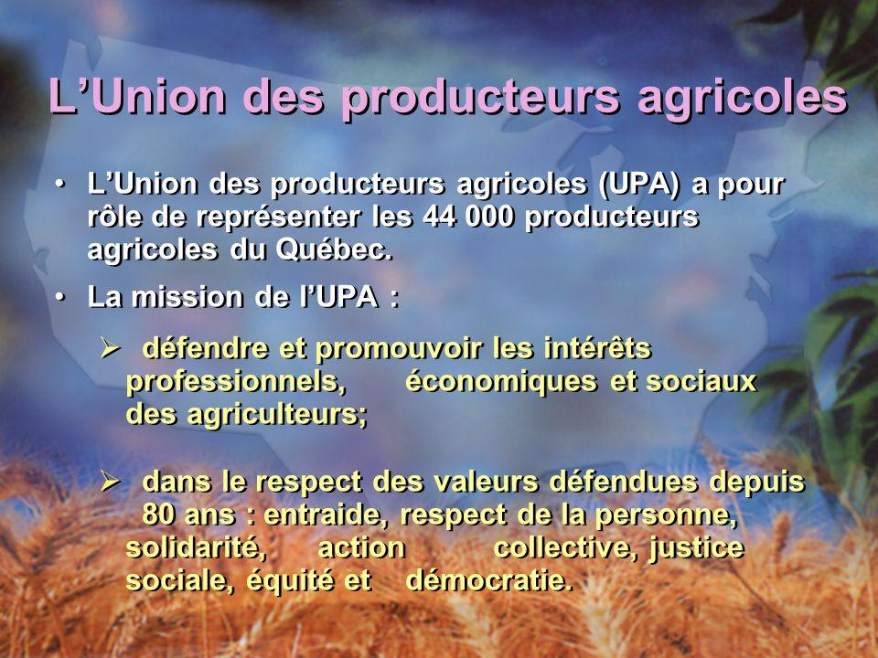 LUnion des producteurs agricoles LUnion des producteurs agricoles (UPA) a pour rôle de représenter les 44 000 producteurs agricoles du Québec.