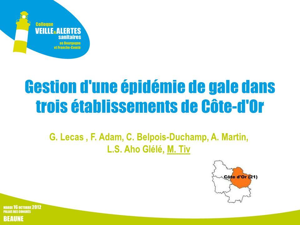 Gestion d'une épidémie de gale dans trois établissements de Côte-d'Or G. Lecas, F. Adam, C. Belpois-Duchamp, A. Martin, L.S. Aho Glélé, M. Tiv