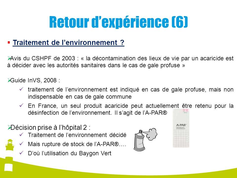 Retour dexpérience (6) Traitement de lenvironnement ? Avis du CSHPF de 2003 : « la décontamination des lieux de vie par un acaricide est à décider ave
