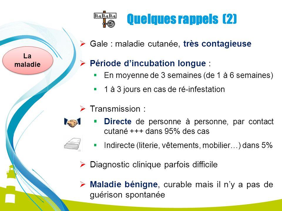 La maladie Quelques rappels (2) Gale : maladie cutanée, très contagieuse Période dincubation longue : En moyenne de 3 semaines (de 1 à 6 semaines) 1 à