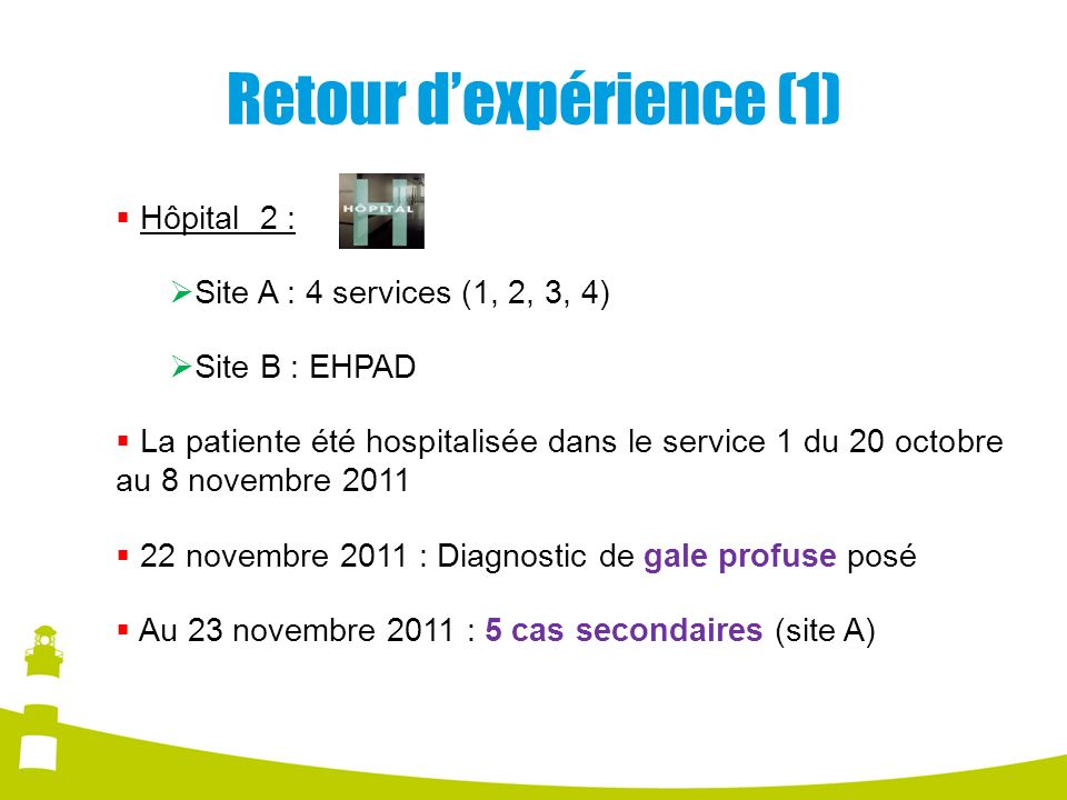 Retour dexpérience (1) Hôpital 2 : Site A : 4 services (1, 2, 3, 4) Site B : EHPAD La patiente été hospitalisée dans le service 1 du 20 octobre au 8 n
